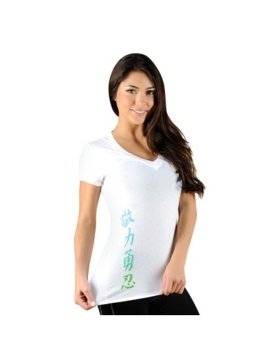 Jaco Womens Kanji Performance V Neck t-shirt White