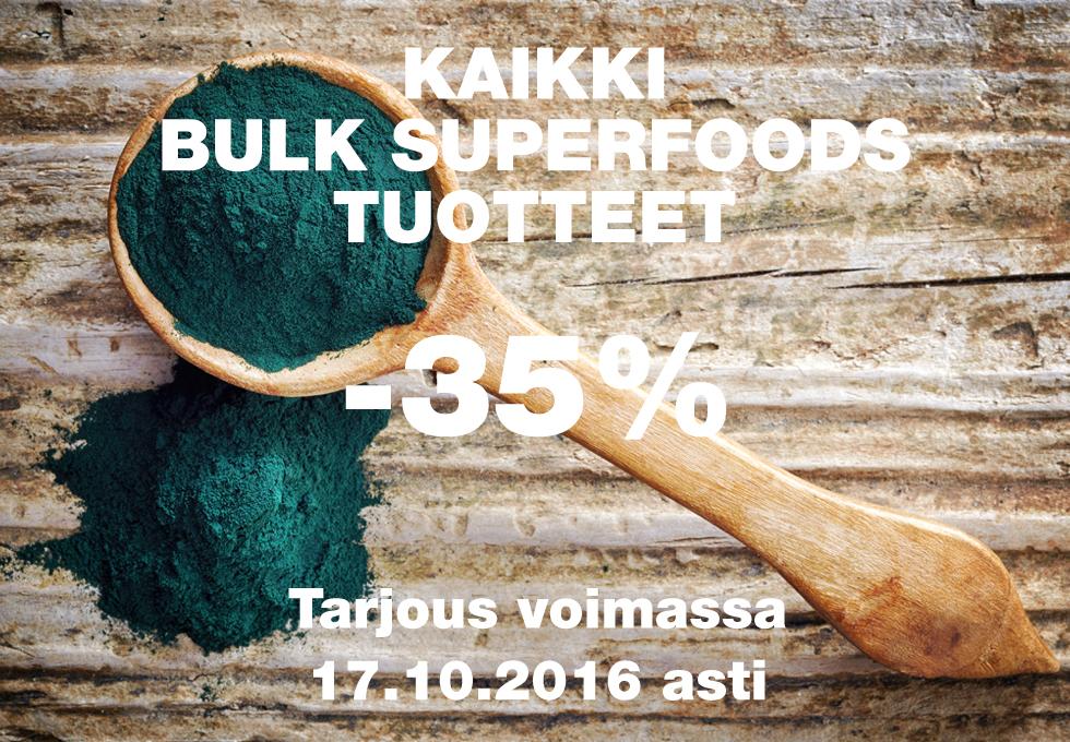 Kaikki Bulk Superfoods tuotteet 35% alennuksin